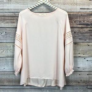 LOFT Medium Blouse Long Sleeve Pink 0471